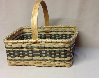 Market Style Basket - Hand Woven, Green Accents, Rectangular