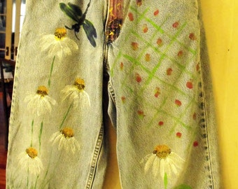 Levi Jeans, Decorated Jeans, Funky Retro Jeans, Size 12-26 Inch Waist Hand Painted Jeans, Shabbyfab Funwear
