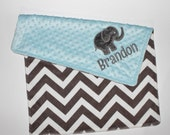 CHOOSE YOUR COLORS Personalized Elephant Double Minky Blanket with Elephant Applique - Gray Chevron and Light Baby Blue