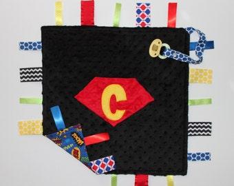 PERSONALIZED Baby Boy Superhero Ribbon Tag Sensory Blanket, Superhero Blanket, Pacifier Clip, Large 16 x 16, Comic Hero, Super Hero