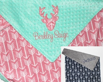 CHOOSE YOUR COLORS, Personalize Baby Boy Blanket, Personalize Baby Girl Blanket, Deer Blanket, Deer Head Blanket, Navy Arrows Blanket