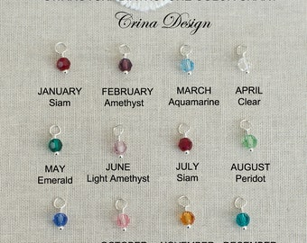 ADD ON - Additional Swarovski  Pendant - Crystal Dangle/Drop Charm -  Swarovski Birthstone Charm