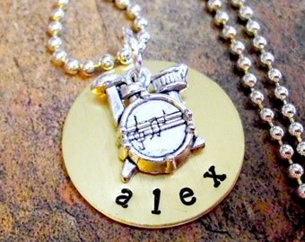Drum Jewelry, Personalized Music Necklace, Drum Necklace, Drummer Jewelry, Music Necklace, Band Jewelry, Drum Set Jewelry, Drummer Boy