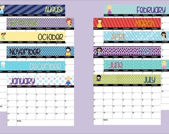 2018 Printable Disney Princess Themed Calendar-Instant Download