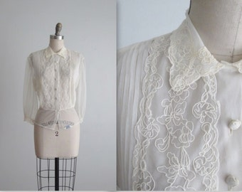 40's Sheer Blouse // Vintage 1940's Sheer Ivory Nylon Lace Peekaboo Blouse Top  L XL