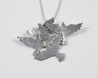 On Hold For MargaretN - Please DO NOT Buy - Sterling Bird Jewelry Pendant - Let Go And Fly - Empowerment Jewelry - Art Jewelry Pendant -2153