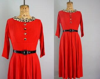1950s dress / 50s dress/ red dress / leopard print dress / rockabilly dress small