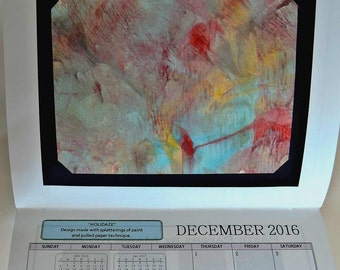 Finale SALE  12 Paste Paper Patterns  2016 Wall Calendar  - FREE USA shipping
