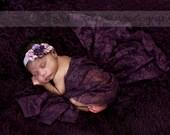 Plum Lace Wrap with Matching Headband - Purple Plum Lace Wrap - Newborn Photo Prop - Eggplant Lace Baby Wrap