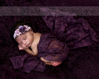 Plum Lace Wrap with Matching Headband - Purple Plum Lace Wrap - Newborn Photo Prop - Eggplant Lace Baby Wrap