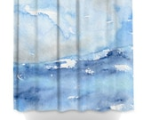 Ocean Wave Shower Curtain Seascape Painting - Artistic Bathroom - Modern Vibrant Bathroom Decor