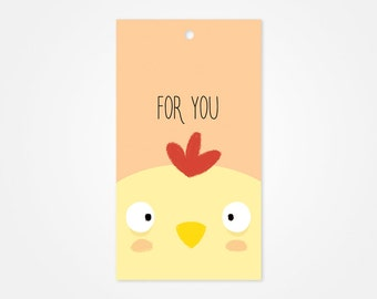 Little Chicken Gift Tag, Gift Wrap, Baby shower Gift tag, Birthday Gift Tag
