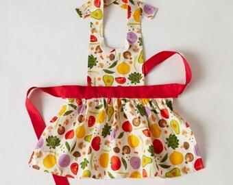 Child's Gidget Full Apron Veggies Print
