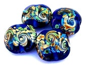 4 cobalt blue lampwork glass beads, ocean waves, blue lentil shape, navy blue, royal with swirls