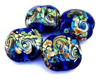 4 cobalt blue lampwork glass beads, ocean waves, blue lentil shape