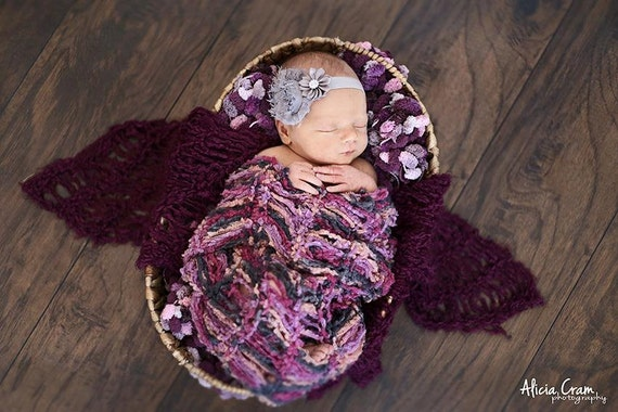 Baby Blankets Set, Purple Pink Grey Set of Newborn Baby Girls Prop Blankets for Photography Props Photo Props
