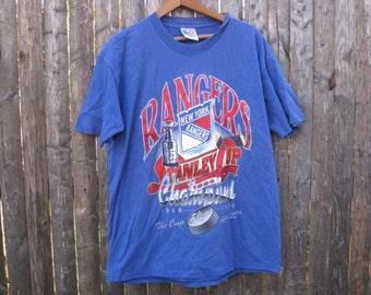 Vintage New York Rangers Stanley Cup Championship Tshirt Mens Large