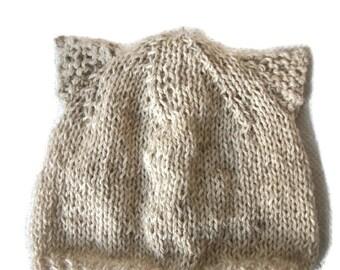 Knit Baby cat hat, Kitten Hat, Baby kitty hat, Alpaca hat Merino Beanie, Animal Hat