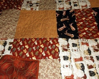 """COWBOY QUILT HANDMADE Sale Priced Twin/Bunk/Lap Handmade Gift for him 66"""" X 78"""" boots and saddles"""
