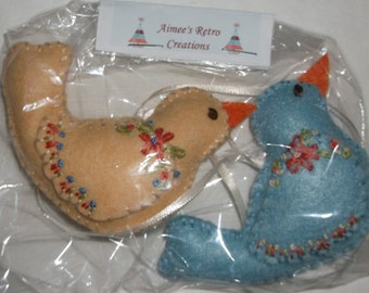 2 Hand Crafted Felt Embroidered Bird Ornaments Ornies - Yellow Blue