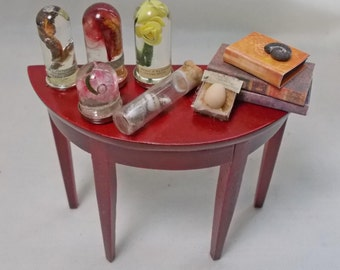 Dolls House Miniature Small Wooden Museum / Study Filled Side Table
