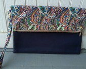Fold Over Envelope Clutch Purse Bag, with Wristlet Strap & Zipper Closure - Vintage blue, red, green and yellow paisley