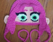 Starfire from Teen Titans Go beanie with earflaps and braided cord