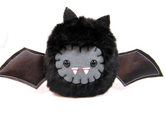Plush Bat Halloween toy monster cute creepy gothic spooky stuffed animal plushie softie kawaii geekery October ugly vampire Small Size Black