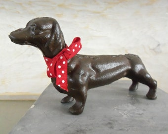 Cast Iron Dog Figurine, Dachshund, Canine,