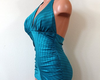 DeWeese Halter Swimsuit // 1970s // Size Medium