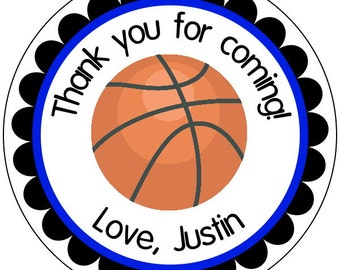 basketball party stickers, custom basketball labels, sports party stickers, basketball birthday stickers, orange stickers, 3 sizes