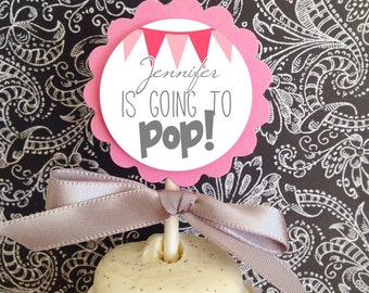 12 going to pop cupcake toppers, pink baby shower cupcake toppers, pink going to pop cupcake toppers, set of 12