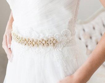 Bridal Sash, Gold Bridal Sash, Wedding Belt, Crystal Sash, Beaded Bridal Sash, Bridal Accessories