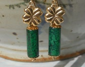 Green Gold Filled Earrings, Four Leaf Clover Charms, Green Glass Dangle Earrings, 1.75 Inch Earrings, Gold Filled Jewelry, Irish, Celtic