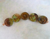 Destash Beads, Brown, Blue, Green Glass Shell Beads, Spiral Flat Rounds, Czech Glass, Sale, Clearance, Ammonite, Small Lot, Coin Beads