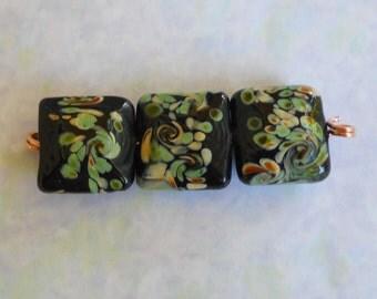 Destash Beads, 3 Lampwork Pillow Beads, Black Green Cream Pattern Beads, 15 x 15 Pillow Beads, Sale Clearance Destash Beads
