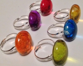 Glass Button Rings