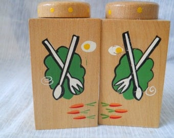 Wooden Salt and Pepper Shakers - vintage, collectible, wood, Japan