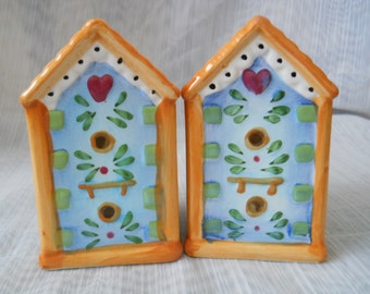 Birdhouse Salt and Pepper Shakers - vintage, collectible, China