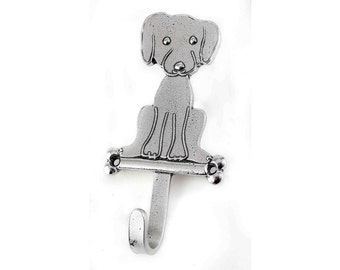 Puppy Hook, Pewter Hook, Hook with Dog, Hook for Leash, Dog Leash Hook