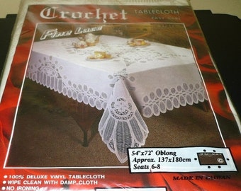 Save 10% Vinyl & Lace Table Cloth - 54 x 72 - Never Used Still In Package