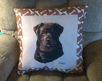 Rottweiller Dog Cimaweave Pillow