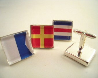 "Custom Signal Flag Cuff Links, Square Silver 3/4"" 20mm Mens Jewelry Gift Ideas Groomsmen Nautical Yachting Maritime Sailing Boating"