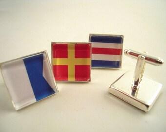 "Custom Signal Flag Cuff Links, Square 3/4"" 20mm Mens Jewelry Gift Ideas Groomsmen Nautical Yachting Maritime Sailing Boating Silver Gunmetal"