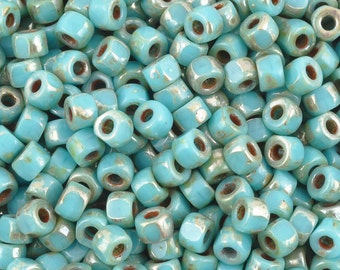 Blue Turquoise Picasso 20 Grams Czech Superduo 2-Hole Glass Beads PG8170-006