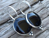 Ready To Ship - Sterling SIlver and Onyx - Earrings for Stretched Lobes - Gauges - Ear Weights