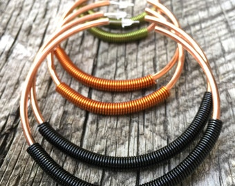 Coil Hoop Earrings - Choose Your Diameter - Choose Your Coil Color