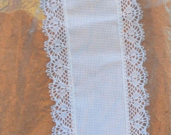 1 bellpull with brown bellpull edged   - White 18 count - Lace edged - Dowel & Finials