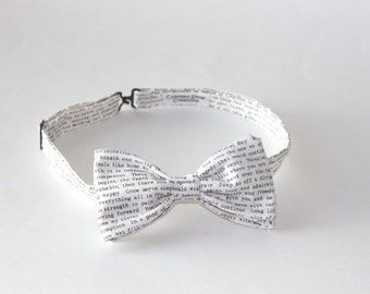 Book Lover Bow Tie - Book Lover Gift - Book Themed Wedding Tie - Literary Theme Wedding Bow Tie - Book Bow Tie  - Mens Bow Tie