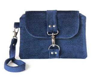 Navy Blue Corduroy Wristlet, Velvet Blue Woman's Wristlet, Small Handbag, Wristlet Wallet, Casual and Comfortable Hand Bag